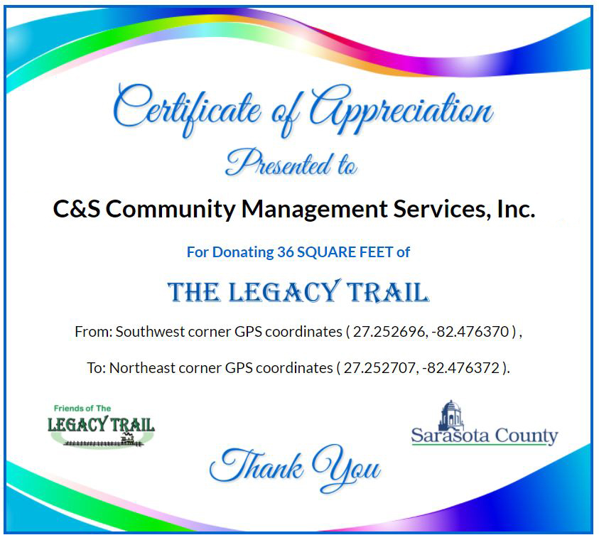 Legacy Trail Thank You