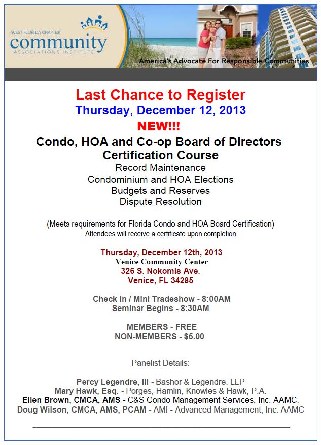 Condo/HOA Board Certification Class - C&S Blog